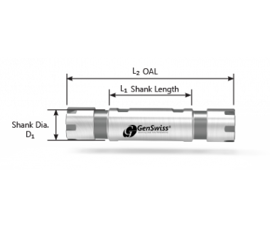CS-20-320-075D:  ER20 Dbl-End Collet Sleeve Ø32 x75mm Shank w/Flat,  Thru, No Stop, Mini-Nut
