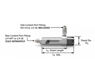 "CS-16-190-050GC: ER16 Coolant Collet Sleeve Ø3/4 x1.97"" Shank w/Flat, Thru No Stop, M-Nut S/R Port"