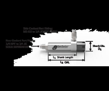 CS-16-250-070GC:   ER16 Coolant Collet Sleeve Ø25 x70mm Shank w/Flat, Thru No Stop Mini-Nut S/R Port