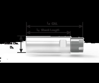 "CS-16-254-033:     ER16 Collet Sleeve Ø1.0 x 1.30"" Shank w/Flat, Thru w/Stop, Mini-Nut"