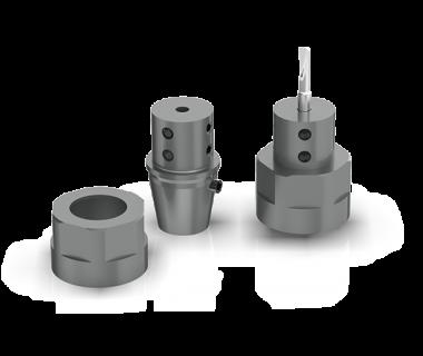 CQS-SH16-25001:  ER16 w/ 1/4'' Bore - Boring Adaptor w/ M19 x 1mm Nut and Locator Pin