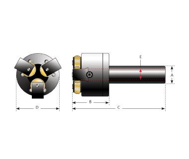 KHE-3DBP-625:  End Knurling Head w/ 3 Independent & adj. Die Slides, shank 5/8'' Round x 2.55 L.