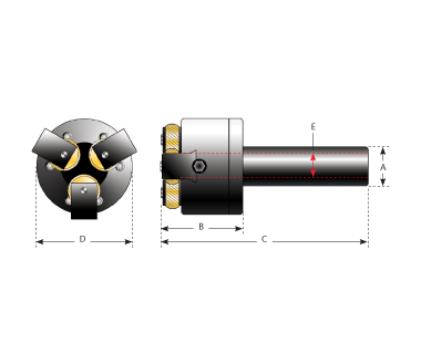 KHE-3DGK-1000:  Knurling Head For End Use w/ 3 Indepdnt. / Die Slides, shank 1'' Round x 3.3'' L.