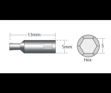 RBT-2151-0150H:            Hex  .0603-.0608  L2=.102   Shk Ø5x13  Gr HiCo8   No Vent   Pos Fa