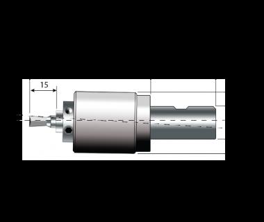 RBH-2101:                 Swiss Rotary Broach Holder, Ø8mm Tool Bore, Shank Ø20mm x 38L with Flat