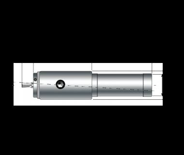 RBH-2150-100-038:    Swiss Rotary Broach Holder, Ø5mm Tool Bore, Shank Ø10mm x 38L No Flat