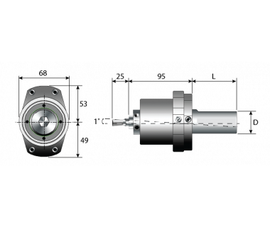 RBH-6190-317:          Adj Rotary Broach Holder, Ø12mm Tool Bore, Shank Ø1.25'' x 2.1L No Flat