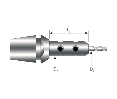 """CTE-20-4.76-114140:    Ti-Loc ® Mill Extension - Ø3/16"""", ER20 Taper, Ext. Ø11.4 x 14mm w/Stop Screw"""