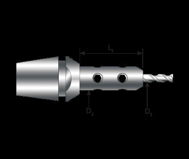 CTE-08-3.00-070150:     Ti-Loc ® Mill Extension - Ø3.0mm,  ER8 Taper, Ext. Ø7.00 x 15mm w/Stop Screw