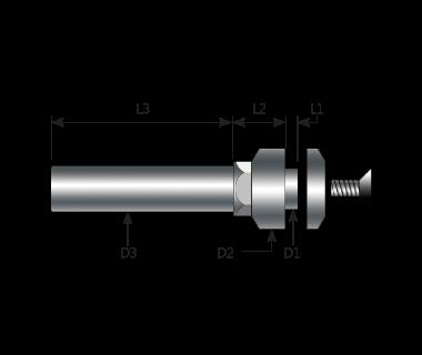 SAF-050010-503809-M4F:    Prec. Metric Saw Arbor w/5 x 1mm Hub, 5x38mm Shank, Ø9 FLG, Ø9x3.2 CLP