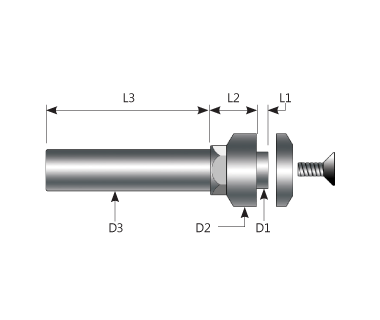 SAF-050010-703812-M4F:    Prec. Metric Saw Arbor w/5 x 1mm Hub, 7x38mm Shank, Ø12 FLG, Ø12x4.5 CLP