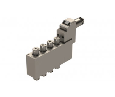 CIT-BSE-3208-III:  A32VII Z-Axis 4-Pos Dbl End Live Tool ER16, I/O 1:1, Geared, Rev.Req