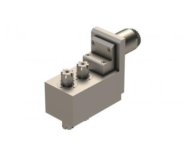 STA-SV32-TSE-010:  90° Face Drill/Mill, 2 Front ER16, 2 Back ER16, I/O= 1:1