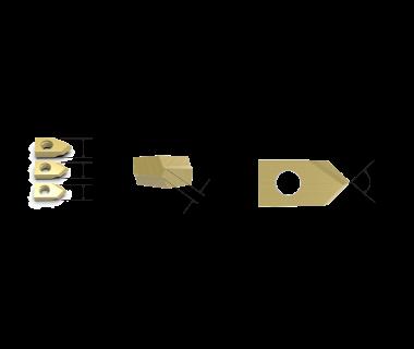 SDI-4090-PRM-TIN:  #4 Spot Drill Insert 90°, Pos. Grind,  RH, .015 web,  Carbide w/ TiN Coating